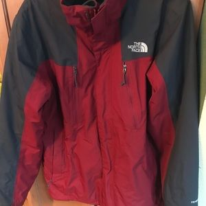 North Face Red and grey two piece winter jacket